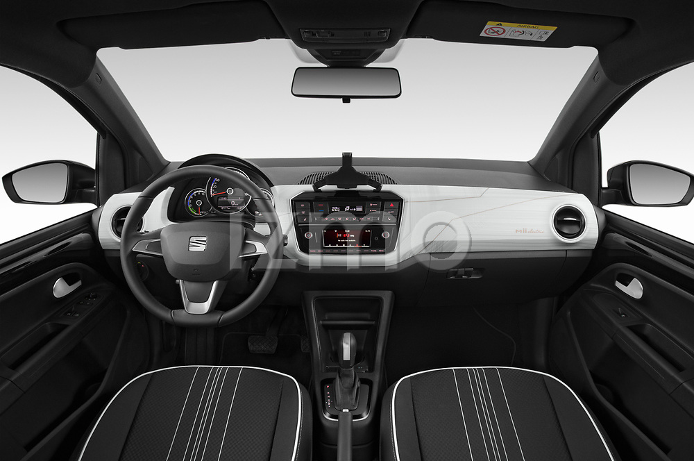 Stock photo of straight dashboard view of a 2020 Seat Mii electric Plus 5 Door Hatchback