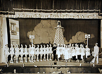 Pictured: Copy picture dated 1951, of a group of Tiller Girls Pat Stewart was dancing with in Blackpool, at the time when the iconic image by Bert Hardy was taken. <br /> Re: 77 year old Pat Stewart (nee Wilson) who now lives near Llantwit Major in the Vale of Glamorgan, south Wales claims she is one of the two young ladies in an iconic image taken by photographer Bert Hardy at Blackpool Promenade in July 1951, alongside fellow Tiller girl Wendy Clarke. Stewart is alleging that another woman, Norma Edmondson who has been claiming that it is her in the picture, is a fraud.