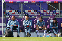 assistant coach Miguel Atilio of Anderlech, head coach Johan Walem of Anderlecht and goalkeeper coach Damien D'Hollander of Anderlecht pictured during a female soccer game between RSC Anderlecht Dames and Standard Femina de Liege on the sixth matchday of the 2021 - 2022 season of Belgian Womens Super League , Saturday 9 th of October 2021  in Brussels , Belgium . PHOTO SPORTPIX   SEVIL OKTEM
