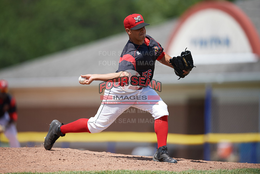 Batavia Muckdogs relief pitcher Horacio Acosta (56) delivers a pitch during a game against the West Virginia Black Bears on June 25, 2017 at Dwyer Stadium in Batavia, New York.  West Virginia defeated Batavia 6-4 in the completion of the game started on June 24th.  (Mike Janes/Four Seam Images)