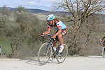 The peloton including Silvain Dillier (SUI) AG2R La Mondiale climb sector 8 Monte Santa Maria during Strade Bianche 2019 running 184km from Siena to Siena, held over the white gravel roads of Tuscany, Italy. 9th March 2019.<br /> Picture: Seamus Yore   Cyclefile<br /> <br /> <br /> All photos usage must carry mandatory copyright credit (© Cyclefile   Seamus Yore)
