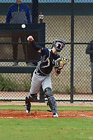 Joseph Barnhardt (10) of Stockton, California during the Baseball Factory All-America Pre-Season Rookie Tournament, powered by Under Armour, on January 13, 2018 at Lake Myrtle Sports Complex in Auburndale, Florida.  (Michael Johnson/Four Seam Images)