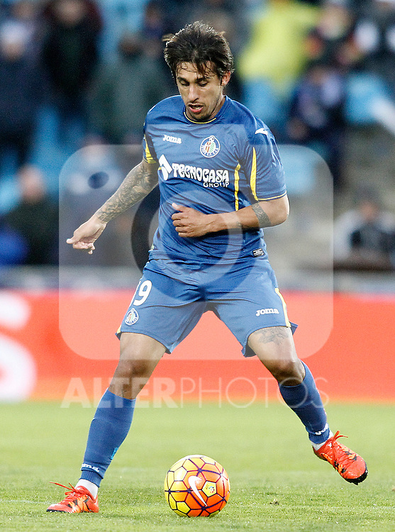 Getafe's Damian Suarez during La Liga match. February 14,2016. (ALTERPHOTOS/Acero)