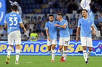 26th September 2021;  Stadio Olimpico, Rome, Italy; Italian Serie A football, SS Lazio versus AS Roma; Felipe Anderson of SS Lazio celebrates after scoring his goal for 3-1 in the 63rd minute