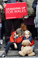 Pictured: Two young children outside the Barry Island Sports and Social Club. Saturday 07 December 2019<br /> Re: Labour Party leader Jeremy Corbyn pre-election campaign in Barry, south Wales, UK.