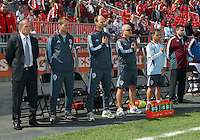 17 September 2011: The coaching staff of the Colorado Rapids stands for the national anthems during an MLS game between the Colorado Rapids and the Toronto FC at BMO Field in Toronto, Ontario Canada..Toronto FC won 2-1.