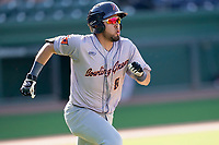 Third baseman Jonathan Aranda (8) of the Greenville Drive during a game against the Bowling Green Hot Rods on Thursday, May 6, 2021, at Fluor Field at the West End in Greenville, South Carolina. (Tom Priddy/Four Seam Images)