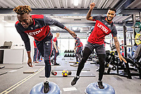 (L-R) Tammy Abraham and Luciano Narsingh exercise in the gym during the Swansea City Training and Press Conference at The Fairwood Training Ground, Swansea, Wales, UK. Thursday 01 February 2018
