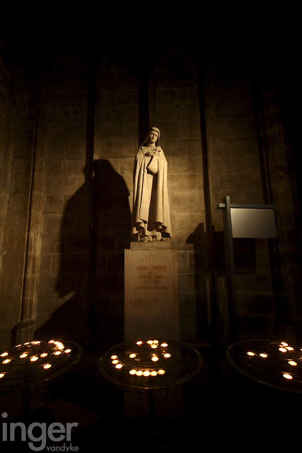 Statue inside Notre Dame Cathedral in Paris, France