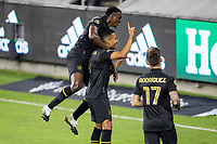 CARSON, CA - OCTOBER 28: Eddie Segura #4 of the Los Angeles FC scores a goal and celebrate during a game between Houston Dynamo and Los Angeles FC at Banc of California Stadium on October 28, 2020 in Carson, California.