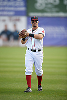 Salem Red Sox center fielder Chris Madera (3) warms up before a game against the Lynchburg Hillcats on May 10, 2018 at Haley Toyota Field in Salem, Virginia.  Lynchburg defeated Salem 11-5.  (Mike Janes/Four Seam Images)