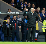 Rangers manager Mark Warburton punches the air at full-time in celebration