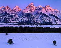 Sunrise glow on the Teton Range; Grand Teton National Park, WY