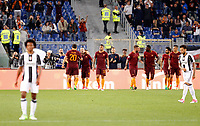Calcio, Serie A: Roma vs Juventus. Roma, stadio Olimpico, 14 maggio 2017. <br /> Roma's Radja Nainggolan, second from left, celebrates with teammates after scoring during the Italian Serie A football match between Roma and Juventus at Rome's Olympic stadium, 14 May 2017. Roma won 3-1.<br /> UPDATE IMAGES PRESS/Riccardo De Luca