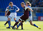 St Johnstone v Hearts...04.08.13 SPFL<br /> Kevin McHattie is closed down by Paddy Cregg and Stevie May<br /> Picture by Graeme Hart.<br /> Copyright Perthshire Picture Agency<br /> Tel: 01738 623350  Mobile: 07990 594431
