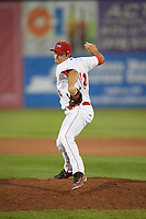 Auburn Doubledays relief pitcher Michael Rishwain (14) delivers a pitch during a game against the Connecticut Tigers on August 10, 2017 at Falcon Park in Auburn, New York.  Connecticut defeated Auburn 4-1.  (Mike Janes/Four Seam Images)
