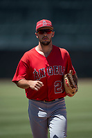 Los Angeles Angels outfielder Nonie Williams (27) jogs off the field between innings of an Extended Spring Training game against the Giants Black at the San Francisco Giants Training Complex on May 25, 2018 in Scottsdale, Arizona. (Zachary Lucy/Four Seam Images)