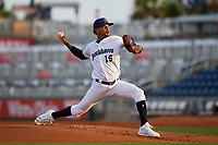 Pensacola Blue Wahoos Shrimp starting pitcher Vladimir Gutierrez (15) delivers a pitch during a game against the Jacksonville Jumbo on August 15, 2018 at Blue Wahoos Stadium in Pensacola, Florida.  Jacksonville defeated Pensacola 9-2.  (Mike Janes/Four Seam Images)