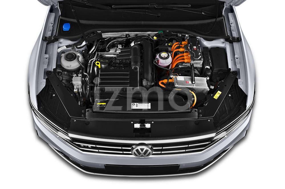 Car Stock 2020 Volkswagen Passat GTE 5 Door Wagon Engine  high angle detail view