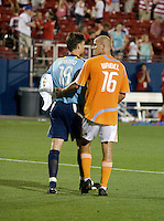 Houston Dynamo goal keeper Pat Onstad (18) and defender Craig Waibel (16) following a road tie with instate rival FC Dallas. Houston Dynamo vs FC Dallas at Pizza Hut Park in Frisco, Texas May-28-2008. Final Score 2-2