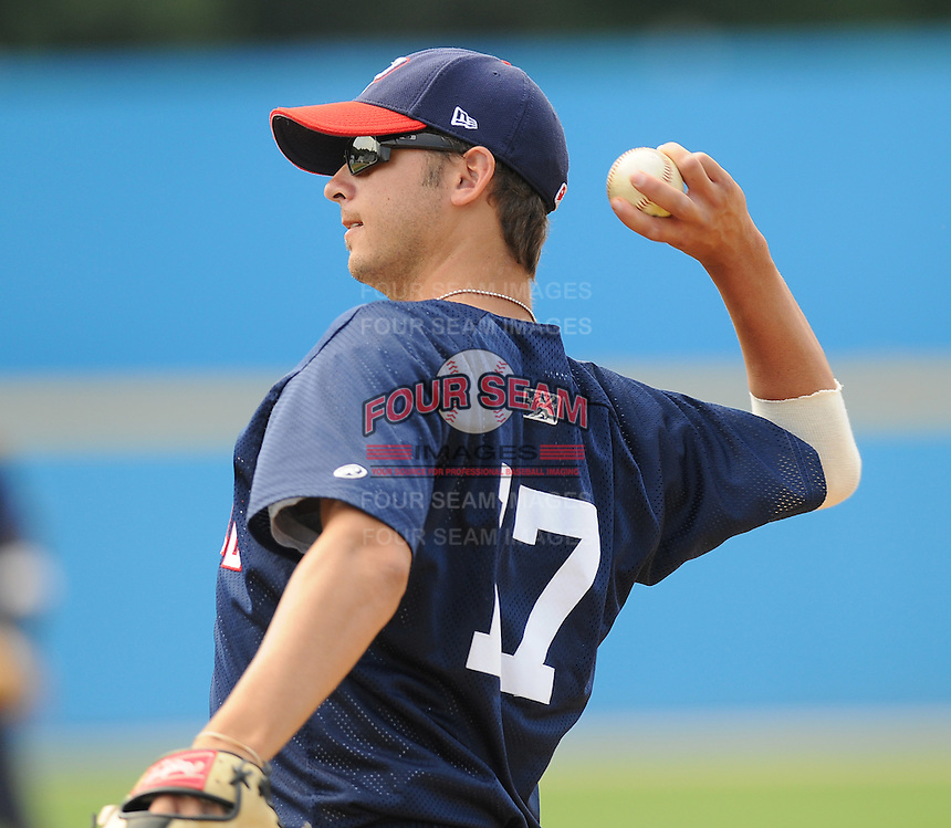 June 21, 2008: Pitcher Clint Everts (17) of the Potomac Nationals, Carolina League affiliate of the Washington Nationals, in a game against the Frederick Keys at G. Richard Pfitzner Stadium in Woodbridge, Va. Photo by:  Tom Priddy/Four Seam Images