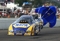 Aug 16, 2014; Brainerd, MN, USA; NHRA funny car driver Ron Capps during qualifying for the Lucas Oil Nationals at Brainerd International Raceway. Mandatory Credit: Mark J. Rebilas-