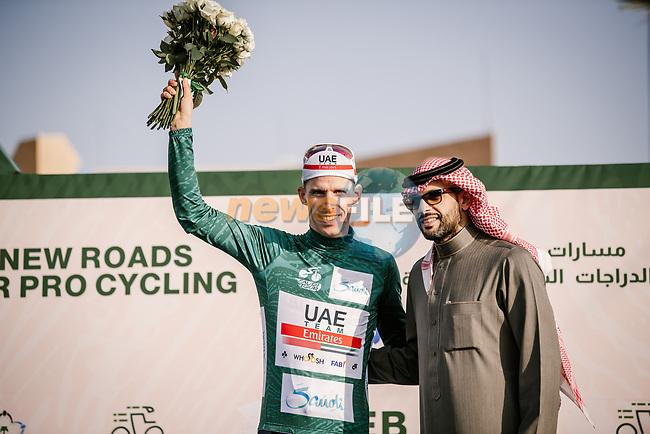 Rui Costa (POR) UAE Team Emirates retains the race leaders Green Jersey at the end of Stage 2 of the Saudi Tour 2020 running 187km from Sadus Castle to Al Bujairi, Saudi Arabia. 5th February 2020. <br /> Picture: ASO/Pauline Ballet | Cyclefile<br /> All photos usage must carry mandatory copyright credit (© Cyclefile | ASO/Pauline Ballet)