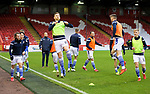 Aberdeen v St Johnstone…26.12.20   Pittodrie      SPFL<br />Liam Craig, St Johnstone captain for the day leads the pre match warm up<br />Picture by Graeme Hart.<br />Copyright Perthshire Picture Agency<br />Tel: 01738 623350  Mobile: 07990 594431
