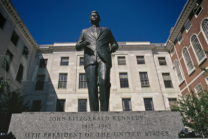 Massachusetts, Boston; Beacon Hill; Statue Of John F. Kennedy Outside Massachusetts State Hous
