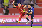 Endo Wataru of Japan (R) fights for the ball with Nguyen Trong Hoang of Vietnam (L) during the AFC Asian Cup UAE 2019 Quarter Finals match between Vietnam (VIE) and Japan (JPN) at Al Maktoum Stadium on 24 January 2018 in Dubai, United Arab Emirates. Photo by Marcio Rodrigo Machado / Power Sport Images