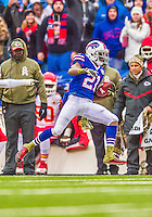 9 November 2014: Buffalo Bills cornerback Leodis McKelvin returns a punt for 22 yards in the first quarter against the Kansas City Chiefs at Ralph Wilson Stadium in Orchard Park, NY. The Chiefs rallied with two fourth quarter touchdowns to defeat the Bills 17-13. Mandatory Credit: Ed Wolfstein Photo *** RAW (NEF) Image File Available ***