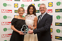 19/05/2015 <br /> Glenda Gilson with Stuart Wilson & Magi Wilson with their award<br /> during the Irish mirror pride of Ireland awards at the mansion house, Dublin.<br /> Photo: gareth chaney Collins