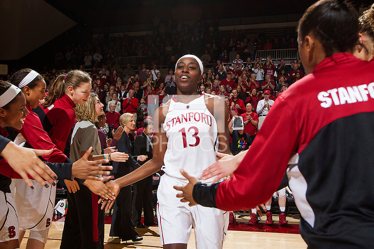 Stanford's Chiney Ogwumike, before Stanford women's basketball  vs Washington State at Maples Pavilion, Stanford, California on March 1, 2014.