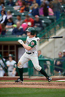 Fort Wayne TinCaps center fielder Jack Suwinski (2) follows through on a swing during a game against the Wisconsin Timber Rattlers on May 10, 2017 at Parkview Field in Fort Wayne, Indiana.  Fort Wayne defeated Wisconsin 3-2.  (Mike Janes/Four Seam Images)