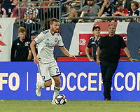 FOXBOROUGH, MA - JULY 28: Oriol Rosell #20 brings the ball forward during a game between Orlando City SC and New England Revolution at Gillette Stadium on July 27, 2019 in Foxborough, Massachusetts.