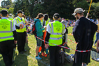 """2016 09 18<br /> Pictured: Performers as members of the """"Ministry of the Predictable"""" measuring children to see if they are a legal size. The Great Pyjama Picnic, Bute Park, Cardiff.Sunday 18 September 2016<br /> Re: Roald Dahl's City of the Unexpected has transformed Cardiff City Centre into a landmark celebration of Wales' foremost storyteller, Roald Dahl, in the year which celebrates his centenary."""