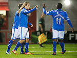 Hamilton Accies v St Johnstone...24.09.13      League Cup<br /> Stevie May celebrates his goal with Chris Millar and Nigel Hasselbaink<br /> Picture by Graeme Hart.<br /> Copyright Perthshire Picture Agency<br /> Tel: 01738 623350  Mobile: 07990 594431