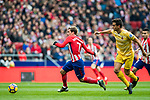 Antoine Griezmann (L) of Atletico de Madrid is followed by Bernardo Jose Espinosa Zuniga of Girona FC during the La Liga 2017-18 match between Atletico de Madrid and Girona FC at Wanda Metropolitano on 20 January 2018 in Madrid, Spain. Photo by Diego Gonzalez / Power Sport Images