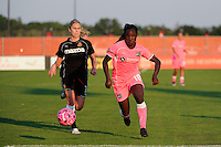 Eniola Aluko (18) of Sky Blue FC is trailed by McCall Zerboni (7) of the Western New York Flash. The Western New York Flash defeated Sky Blue FC 2-0 during a Women's Professional Soccer (WPS) match at Yurcak Field in Piscataway, NJ, on July 17, 2011.