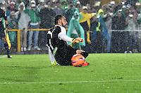 BOGOTA - COLOMBIA -25-02-2017: Dayro Moreno (Fuera de Cuadro) jugador de Atletico Nacional, anota gol a Diego Novoa, portero de La Equidad, durante partido entre La Equidad y Atletico Nacional, por la fecha 5 de la Liga Aguila I-2017, jugado en el estadio Nemesio Camacho El Campin de la ciudad de Bogota. / Dayro Moreno (Out of Frame), player of Atletico Nacional, scored goal to Diego Novoa, goalkeeper of La Equidad,  during a match between La Equidad and Atletico Nacional, for the  date 5 of the Liga Aguila I-2017 at the Nemesio Camacho El Campin Stadium in Bogota city, Photo: VizzorImage  / Luis Ramirez / Staff.