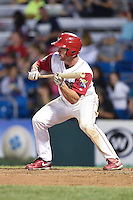 Williamsport Crosscutters outfielder Aaron Brown (33) squares to bunt during a game against the Aberdeen IronBirds on August 4, 2014 at Bowman Field in Williamsport, Pennsylvania.  Aberdeen defeated Williamsport 6-3.  (Mike Janes/Four Seam Images)