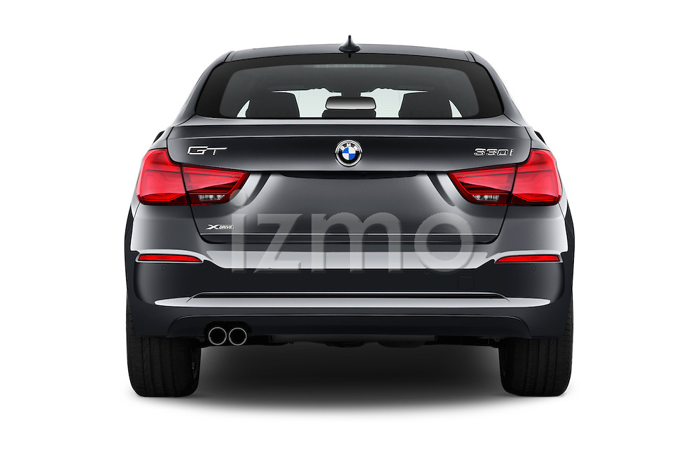 Straight rear view of 2018 BMW 3-Series 330i-Gran-Turismo 5 Door Hatchback Rear View  stock images