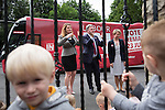 © Joel Goodman - 07973 332324 . 14/06/2016 . Burnley , UK . Alison McGovern MP , Ed Balls and Yvette Cooper MP  arrive and meet children children whilst campaigning for Remain , in the EU referendum , at Giant Leap Child Care and Learning House in Burnley . Photo credit : Joel Goodman