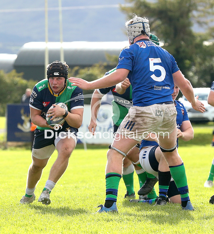 Saturday 10th October 2020   Ballynahinch vs Queens<br /> <br /> Zack McCall during the Energia Community Series clash between Ballynahinch and Queens at Ballymacarn Park, Ballynahinch, County Down, Northern Ireland. Photo by John Dickson / Dicksondigital