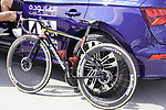 Colombian Champion Sergio Andres Higuita Garcia (COL) EF Education-Nippo Cannondale bike at sign on before the start of Stage 6 of the 2021 UAE Tour running 165km from Deira Island to Palm Jumeirah, Dubai, UAE. 26th February 2021.  <br /> Picture: Eoin Clarke   Cyclefile<br /> <br /> All photos usage must carry mandatory copyright credit (© Cyclefile   Eoin Clarke)