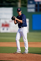 Elizabethton Twins starting pitcher Josh Winder (38) gets ready to deliver a pitch during a game against the Bristol Pirates on July 28, 2018 at Joe O'Brien Field in Elizabethton, Tennessee.  Elizabethton defeated Bristol 5-0.  (Mike Janes/Four Seam Images)