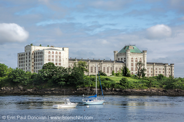 Looking across the Piscataqua River at the old Portsmouth Naval Prison on Seavey Island in Kittery, Maine from Route 1B in Portsmouth, New Hampshire. The Portsmouth Naval Prison was built in the early 1900s; it opened in 1908 and was occupied until 1974.