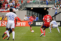 Dennis Marshall (20) of Costa Rica passes the ball. Honduras defeated Costa Rica on penalty kicks after playing to a 1-1 tie during a quarterfinal match of the 2011 CONCACAF Gold Cup at the New Meadowlands Stadium in East Rutherford, NJ, on June 18, 2011.