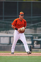 GCL Orioles first baseman Gui Yuan Xu (21) during a game against the GCL Red Sox on August 16, 2016 at the Ed Smith Stadium in Sarasota, Florida.  GCL Red Sox defeated GCL Orioles 2-0.  (Mike Janes/Four Seam Images)