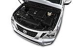 Car stock 2018 Nissan Armada SV 5 Door SUV engine high angle detail view